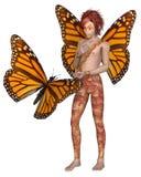 Muchacho de la hada de la mariposa de monarca Foto de archivo