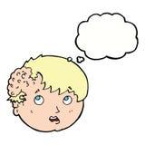 muchacho de la historieta con crecimiento feo en la cabeza con la burbuja del pensamiento Fotografía de archivo libre de regalías
