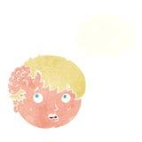 muchacho de la historieta con crecimiento feo en la cabeza con la burbuja del pensamiento Imagenes de archivo