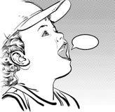 Muchacho de la historieta del vector en un casquillo Imagenes de archivo