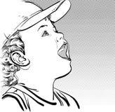 Muchacho de la historieta del vector en un casquillo Imagen de archivo