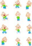 Muchacho de la historieta en diversas posiciones Imagen de archivo libre de regalías