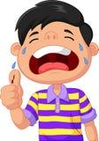 Muchacho de la historieta que llora debido a un corte en su pulgar ilustración del vector