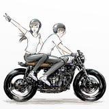 Muchacho de la historieta y motocicleta lindos del montar a caballo de la muchacha imagenes de archivo