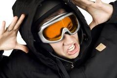 Muchacho de la snowboard dado una sacudida eléctrica fotografía de archivo libre de regalías