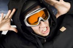 Muchacho de la snowboard dado una sacudida eléctrica imágenes de archivo libres de regalías
