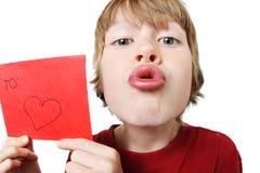 Muchacho de la tarjeta del día de San Valentín Imagen de archivo