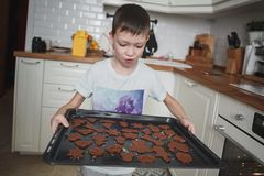Muchacho de 8 miradas sorprendidas y felices de los años en la bandeja de la cocina de galletas de microprocesador de chocolate fotos de archivo