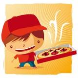 Muchacho de salida de la pizza Fotografía de archivo