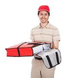 Muchacho de salida de la pizza con el bolso termal Imágenes de archivo libres de regalías