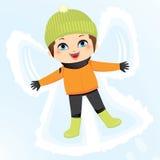 Muchacho del ángel de la nieve Imagen de archivo