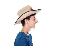 Muchacho del adolescente con un sombrero de vaquero Fotos de archivo