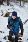 Muchacho del adolescente en las montañas Imágenes de archivo libres de regalías