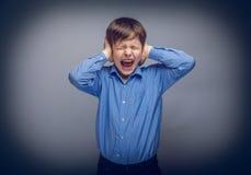 Muchacho del adolescente que cubre sus oídos que gritan las manos encendido Fotos de archivo