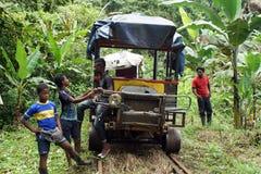 Muchacho del Afro-ecuatoriano delante de un ` del tren de fantasma del ` en la selva imágenes de archivo libres de regalías