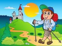 Muchacho del caminante de la historieta cerca del castillo libre illustration