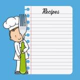Muchacho del cocinero con una bifurcación y una hoja en blanco Imagen de archivo
