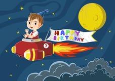 Muchacho del cumpleaños que monta un cohete con la bandera del feliz cumpleaños Imagen de archivo libre de regalías