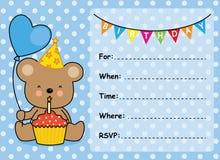 Muchacho del cumpleaños de la tarjeta de la invitación Fotos de archivo libres de regalías