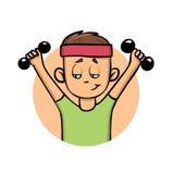 Muchacho del entrenamiento con pesas de gimnasia Forma de vida activa Icono del diseño de la historieta Ejemplo plano del vector  stock de ilustración