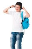 Muchacho del estudiante con los auriculares Imagen de archivo