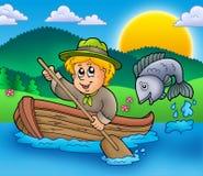 Muchacho del explorador en barco ilustración del vector