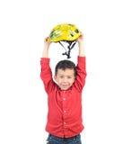 Muchacho del ganador con el casco de la bici Imágenes de archivo libres de regalías