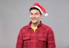 Muchacho del inconformista en sombrero de la Navidad imagen de archivo libre de regalías