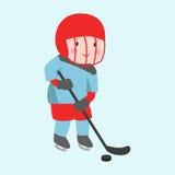 Muchacho del jugador de hockey con el vendaje de la actitud del palillo en el uniforme del atleta del deporte de invierno de la c Fotos de archivo libres de regalías