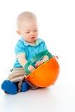 Muchacho del niño con el casco foto de archivo libre de regalías