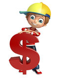 Muchacho del niño con el dólar Foto de archivo libre de regalías