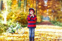 Muchacho del niño con la bicicleta en bosque del otoño Fotos de archivo libres de regalías