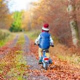 Muchacho del niño con la bicicleta en bosque del otoño Imagen de archivo