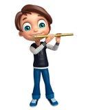 Muchacho del niño con la flauta Imagenes de archivo