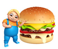 Muchacho del niño con la hamburguesa Imagenes de archivo