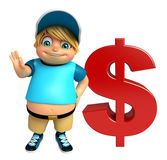 Muchacho del niño con la muestra de dólar Imagenes de archivo