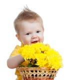 Muchacho del niño con las flores aisladas Fotografía de archivo