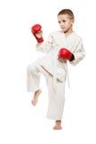 Muchacho del niño en karate del entrenamiento del kimono Fotografía de archivo