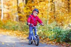 Muchacho del niño con la bicicleta en bosque del otoño Imagen de archivo libre de regalías
