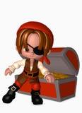 muchacho del pirata 3d con el pecho de tesoro Imágenes de archivo libres de regalías