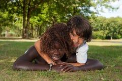 Muchacho dulce y su hermana de la adopción Foto de archivo