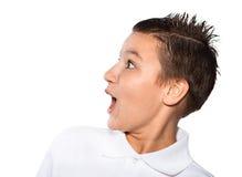Muchacho el adolescente aislado en un fondo blanco Fotografía de archivo libre de regalías