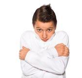Muchacho el adolescente aislado en un fondo blanco Imagenes de archivo
