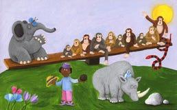 Muchacho, elefante, monos, serpiente y rinoceronte africanos