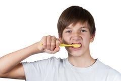Muchacho elegante joven que cepilla sus dientes fotos de archivo libres de regalías
