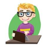 Muchacho elegante que juega la tableta Fotos de archivo libres de regalías