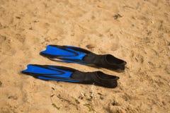 Muchacho en aleta azul Fotos de archivo libres de regalías