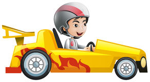 Muchacho en coche de competición amarillo libre illustration