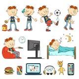 Muchacho en diversas situaciones stock de ilustración