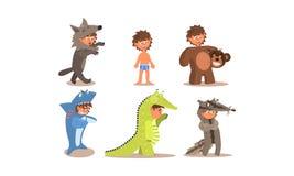 Muchacho en diversos trajes de mascarada sistema, lobo, oso, pescado del tiburón, cocodrilo, mapache, ejemplo del vector libre illustration